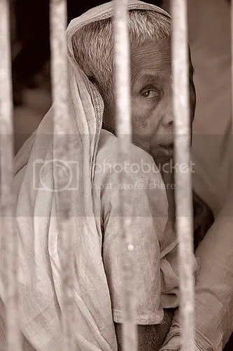 A widow living in a compound for widows at Vrindavan, India