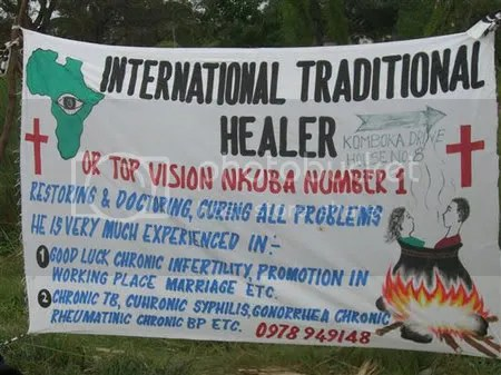 Banner sign for a traditional healer in Nkumba, Zambia.