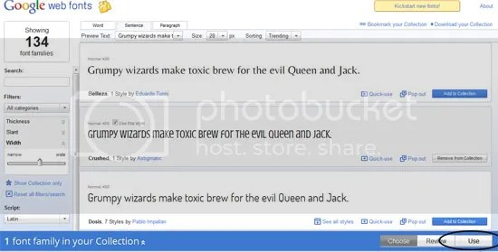 Pakai Google Web Fonts