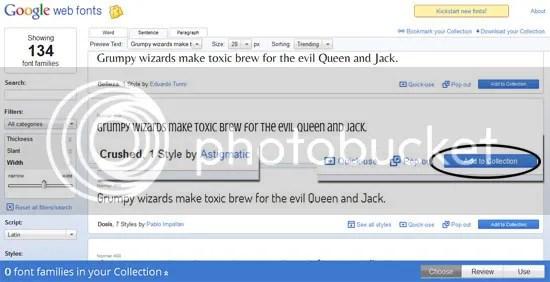 Memilih Google Web Fonts