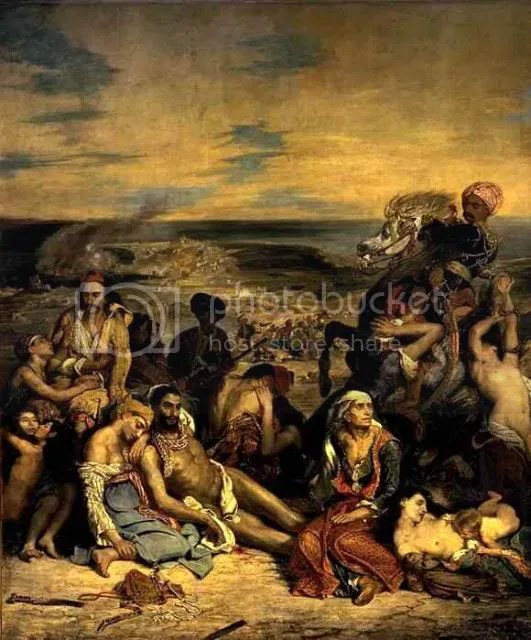The Massacre at Chios (French: Scène des massacres de Scio; familles grecques attendant la mort ou l'esclavage), 1824. Eugène Delacroix (1798-1863). 4.19 x 3.54 m. Musée du Louvre, purchased at the Salon of 1824, INV. 3823.