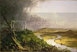View from Mount Holyoke, Northampton, Massachusetts, after a Thunderstorm—The Oxbow, 1836. Thomas Cole (American, 1801–1848). Oil on canvas,  51 1/2 x 76 in. (130.8 x 193 cm). Gift of Mrs. Russell Sage, 1908. The Metropolitan Museum of Art.
