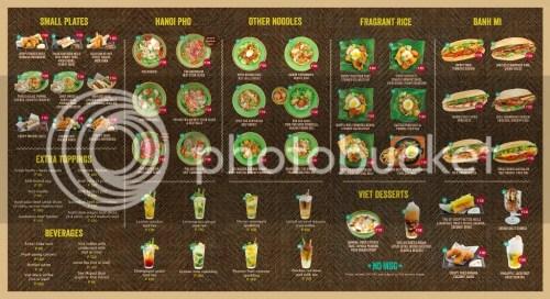 Annam Noodle Bar Main a la carte menu
