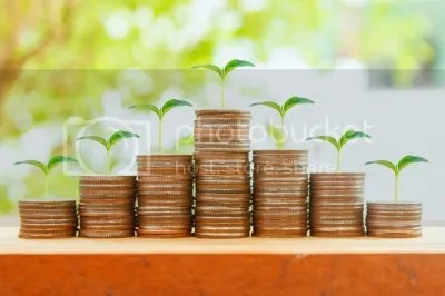 Money, coins, concept tree Sprout Growing With Sun Light In Savi by jk1991