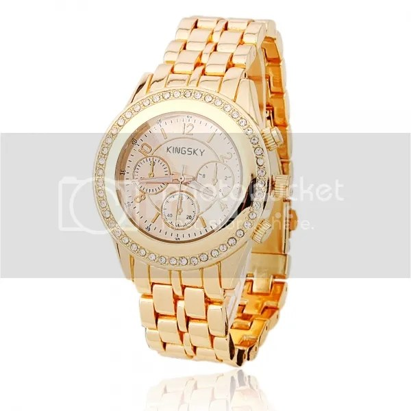Men-Women-Waterproof-Rhinestone-Alloy-Quartz-MultiMovement-Wrist-Watch-Bronze-Pink