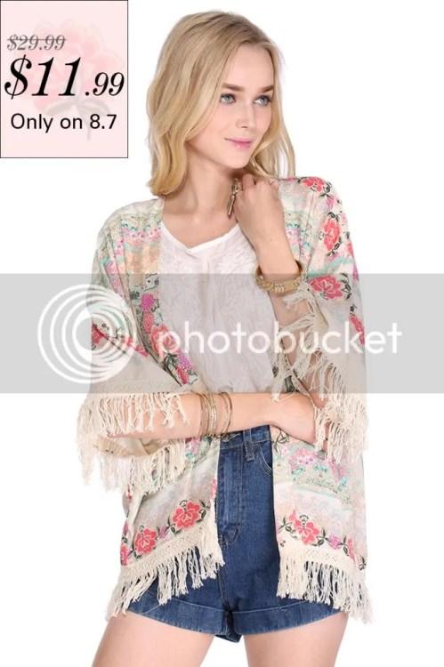 Romwe Floral Tassel Kimono