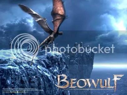 Beowulf enfrenta o dragão - Clique para baixar este wallpaper