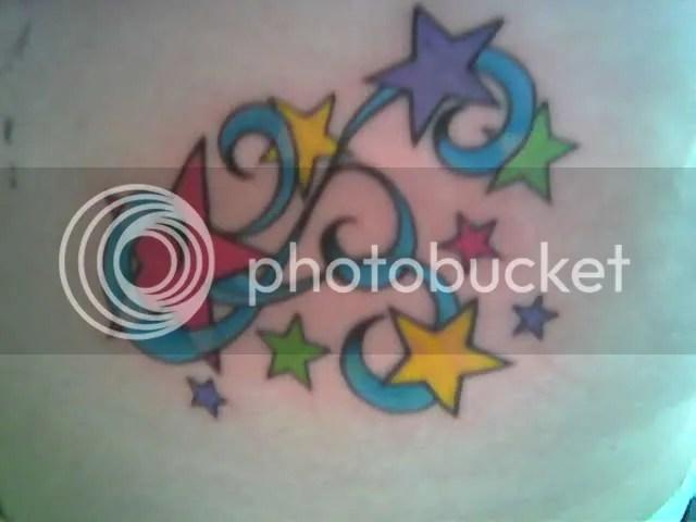 star tattoo, colorful rainbow Tattoo & Piercing
