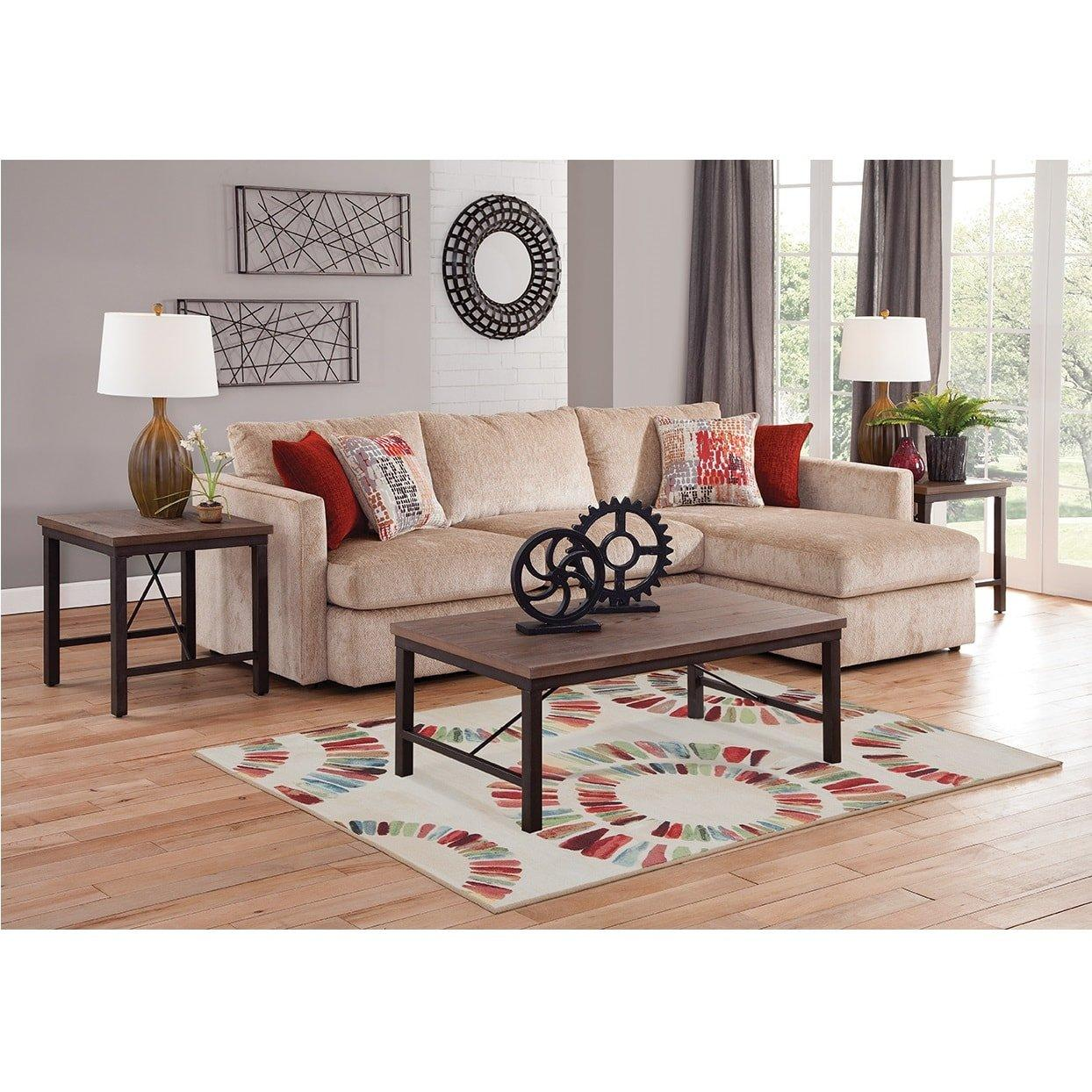 2 piece cassie chaise sofa sectional living room collection