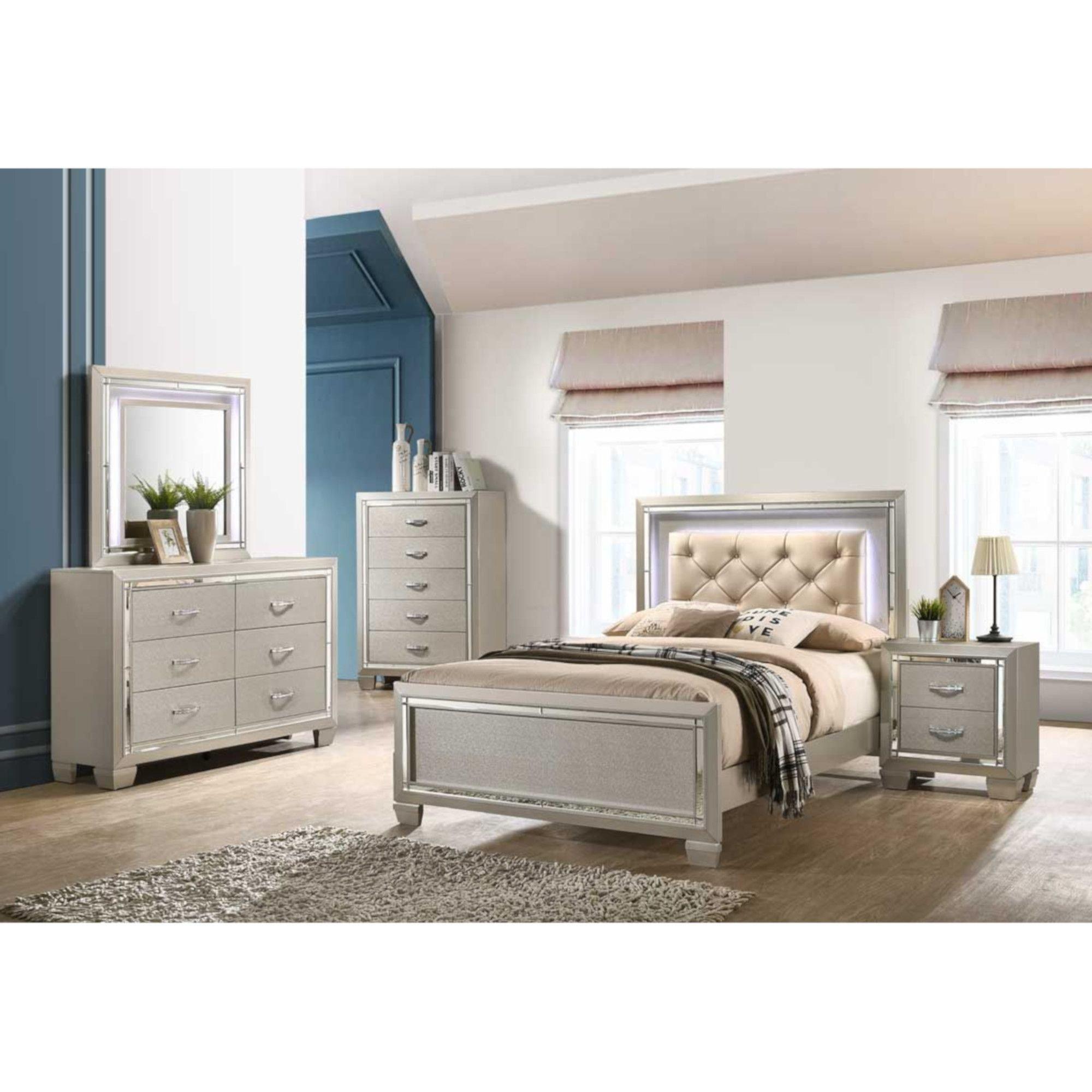 piece platinum twin panel bedroom set