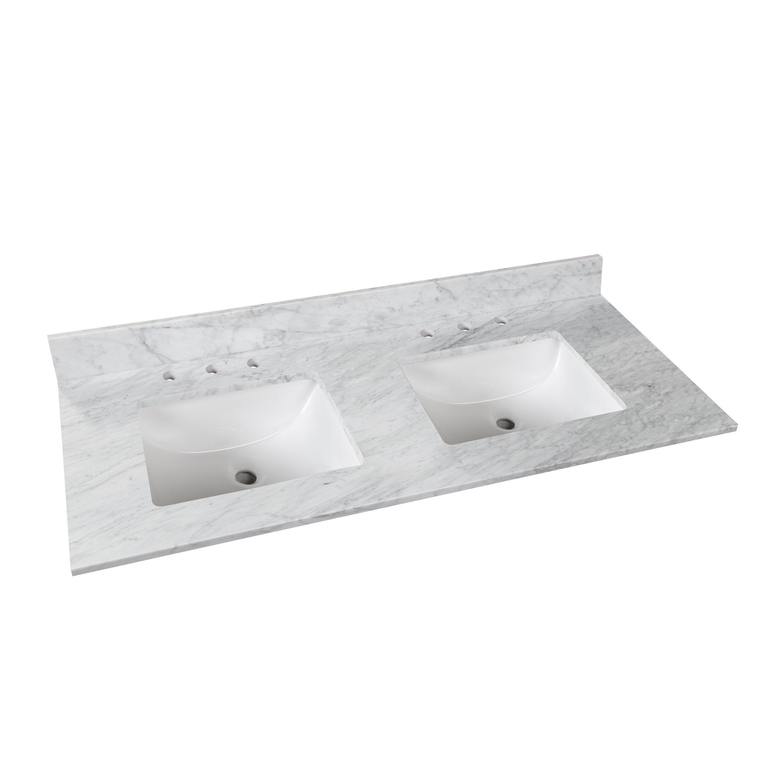 bianco carrara marble 61 in vanity top includes backsplash