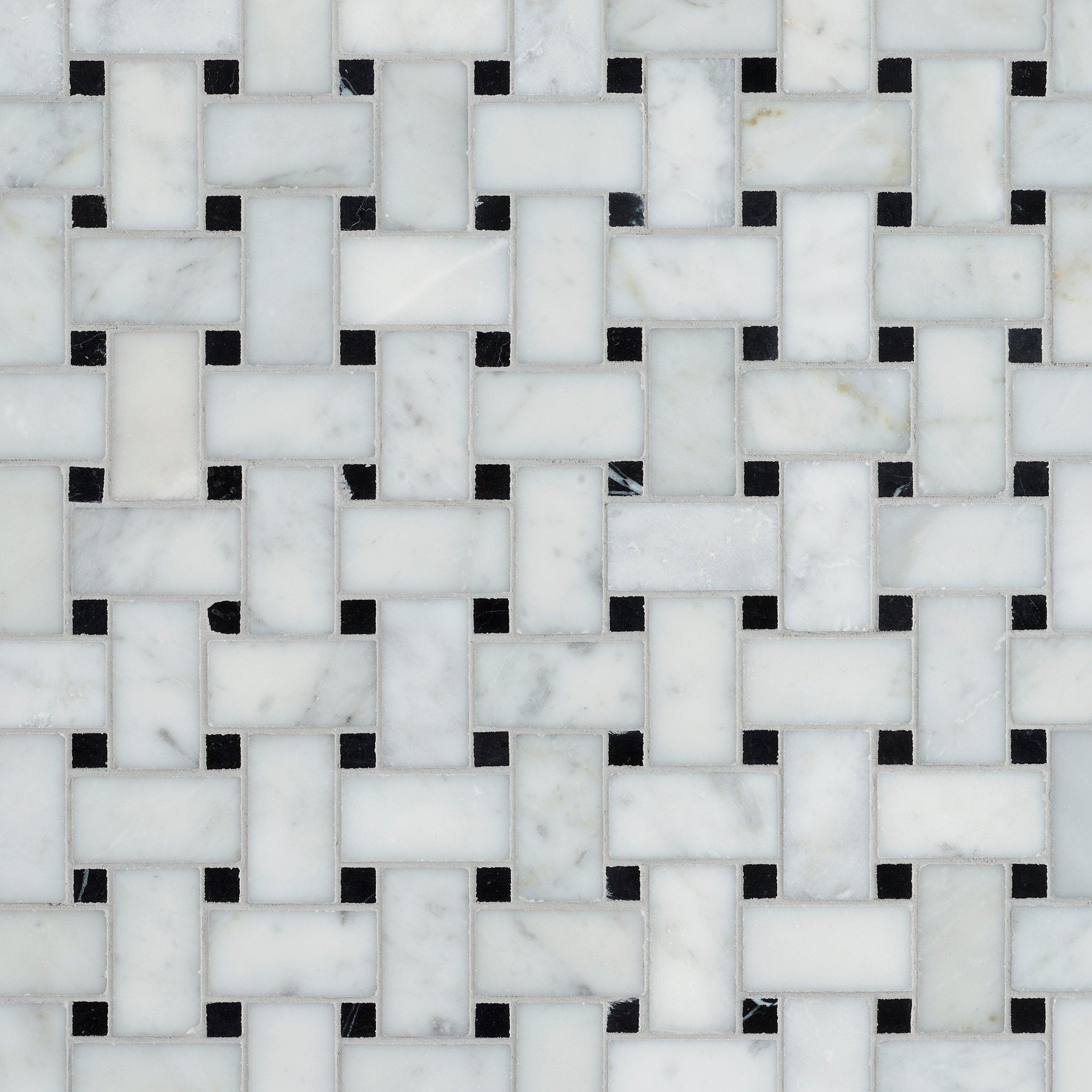 bianco carrara polished marble basketweave tile
