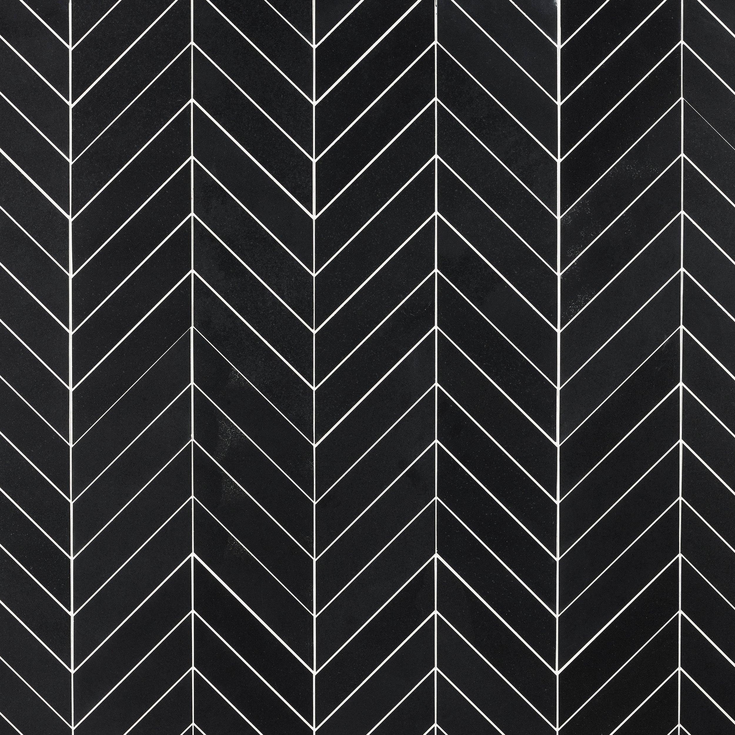 jet black basalt chevron mosaic