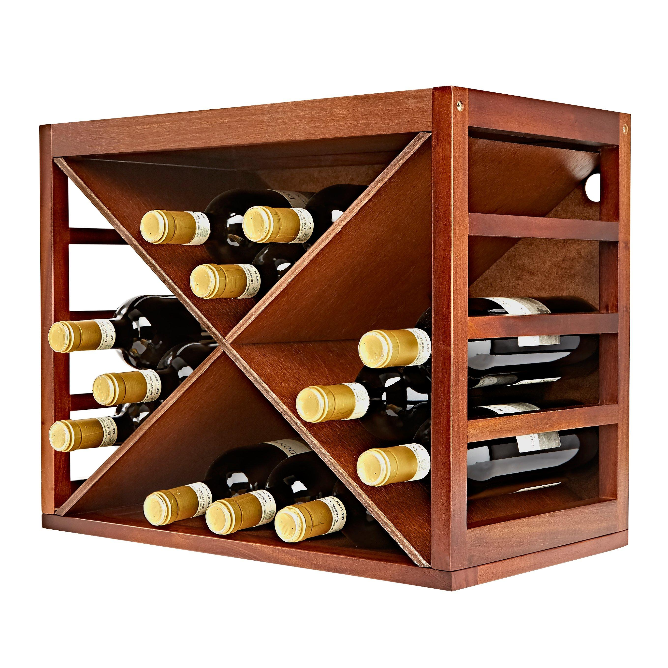 cube stack x style wine rack walnut