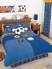 New Boys Sports Balls Soccer Comforter Bedding Set Full ...