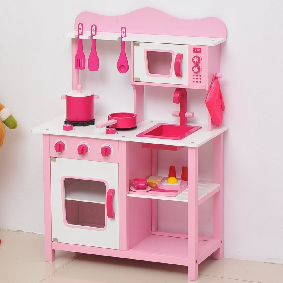 wooden kids kitchen christmas decorating ideas for the homcom pink playset on onbuy