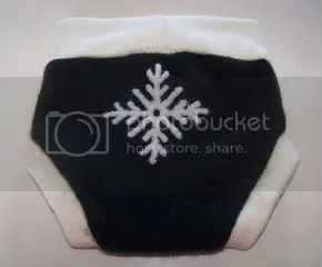 Recycled wool soaker with snowflake applique