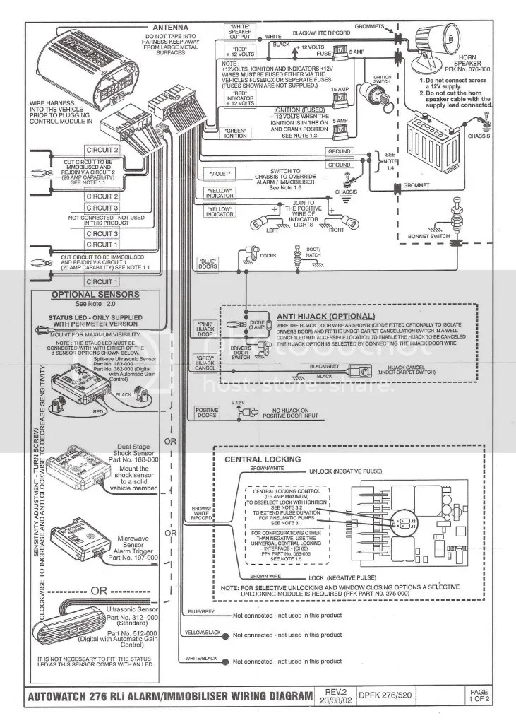 Alarm Auto Watch Diagram Car Wiring 280rli. autowatch