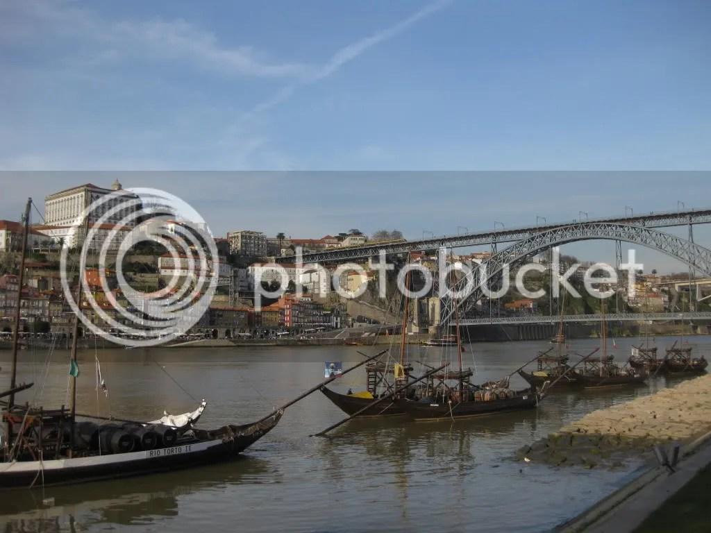 A view of old Oporto, the Douro River and the Dom Luis bridge from Vila Nova de Gaia.