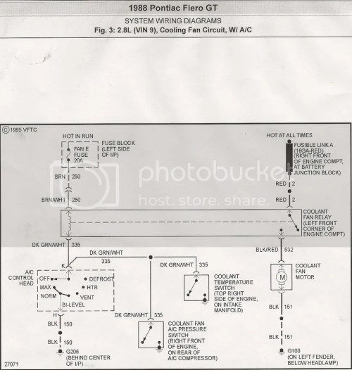 small resolution of 88 fiero cooling fan circuit