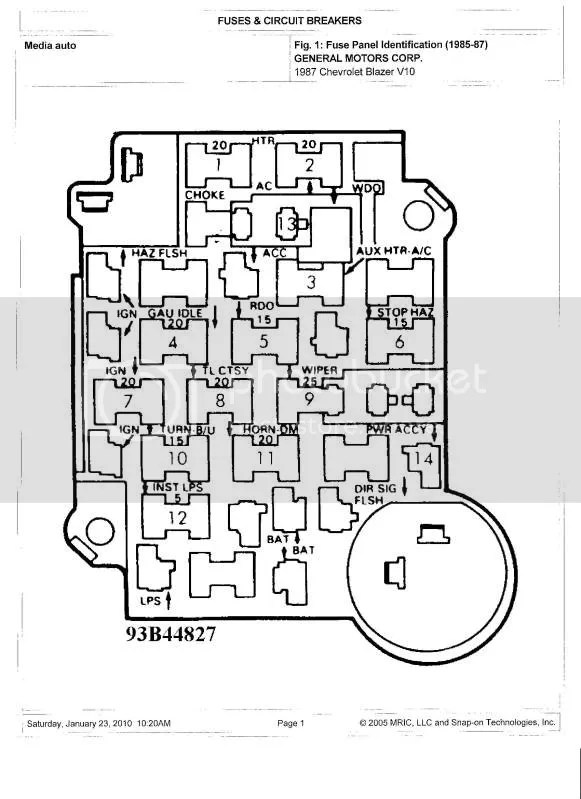 Dome Light/Fuse Panel Diagram?