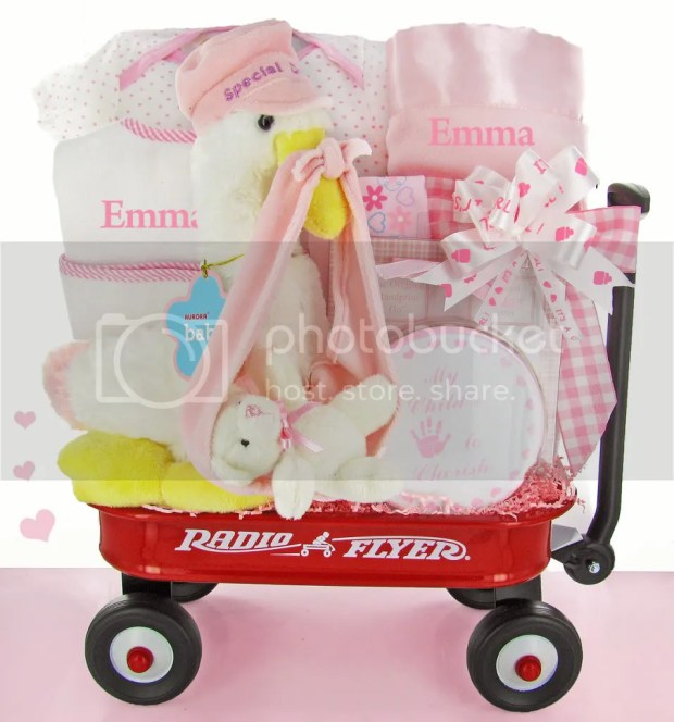 gift baskets photo: Here Comes The Stork Wagon Gift Set stork-wagon-pink-large.jpg