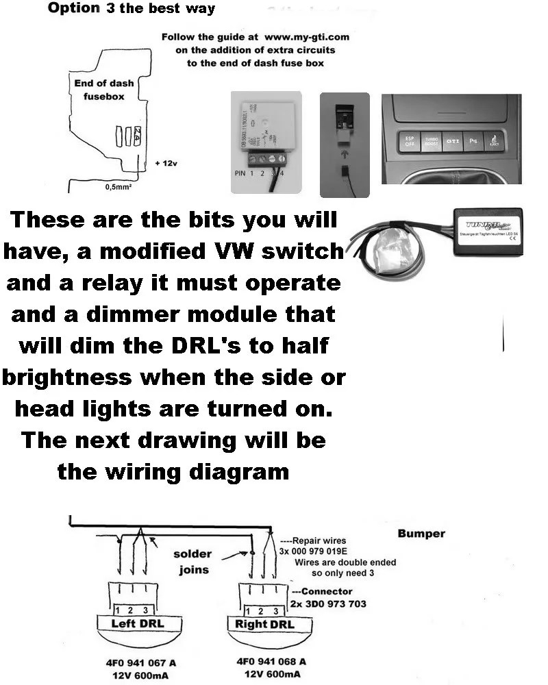 hight resolution of the above 3rd and best option im my opinion was to wire them as close to oem as possible this involves buying as stated above an electronic dimming module