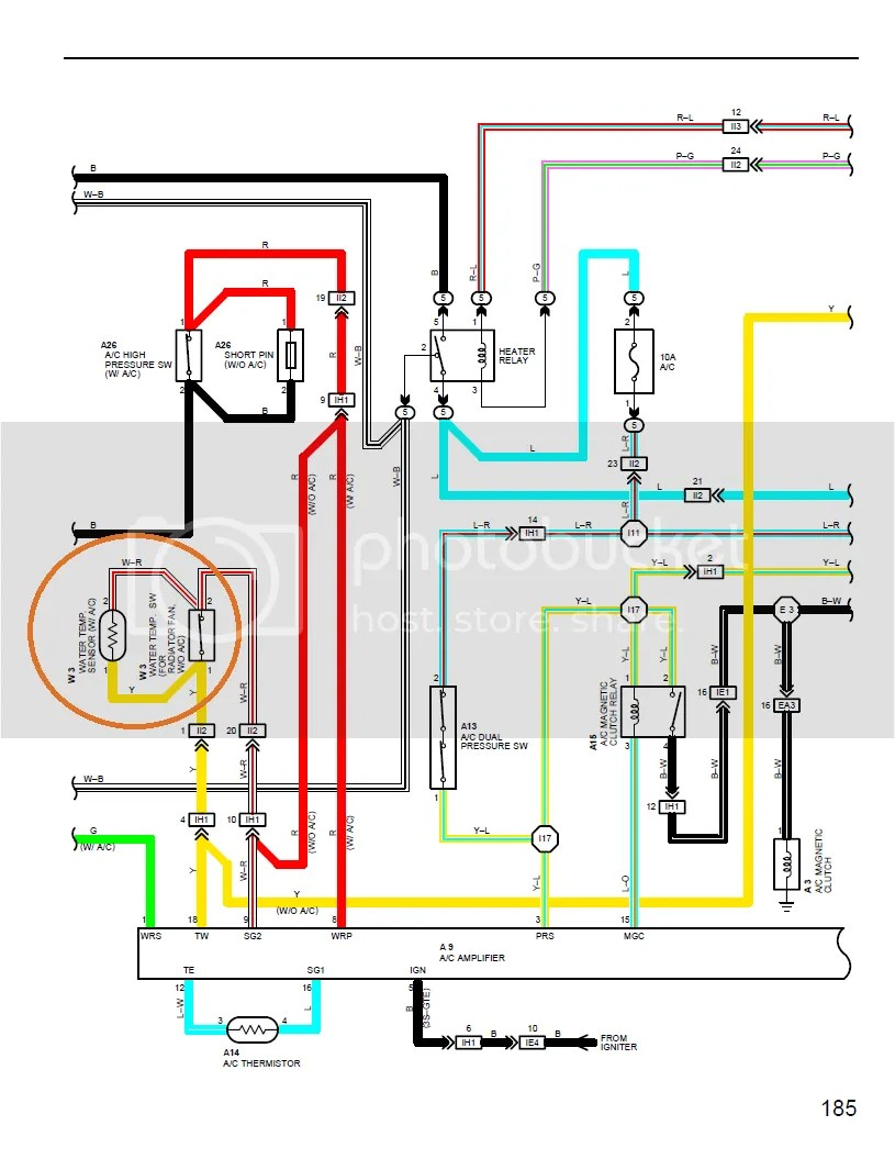 hight resolution of  for radiator fan w o ac in the a c wiring diagram does it mean terminals 18 and 9 will have continuity if either radiator fan switch is on or if the temp
