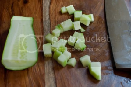 Chop cucumber into cubes