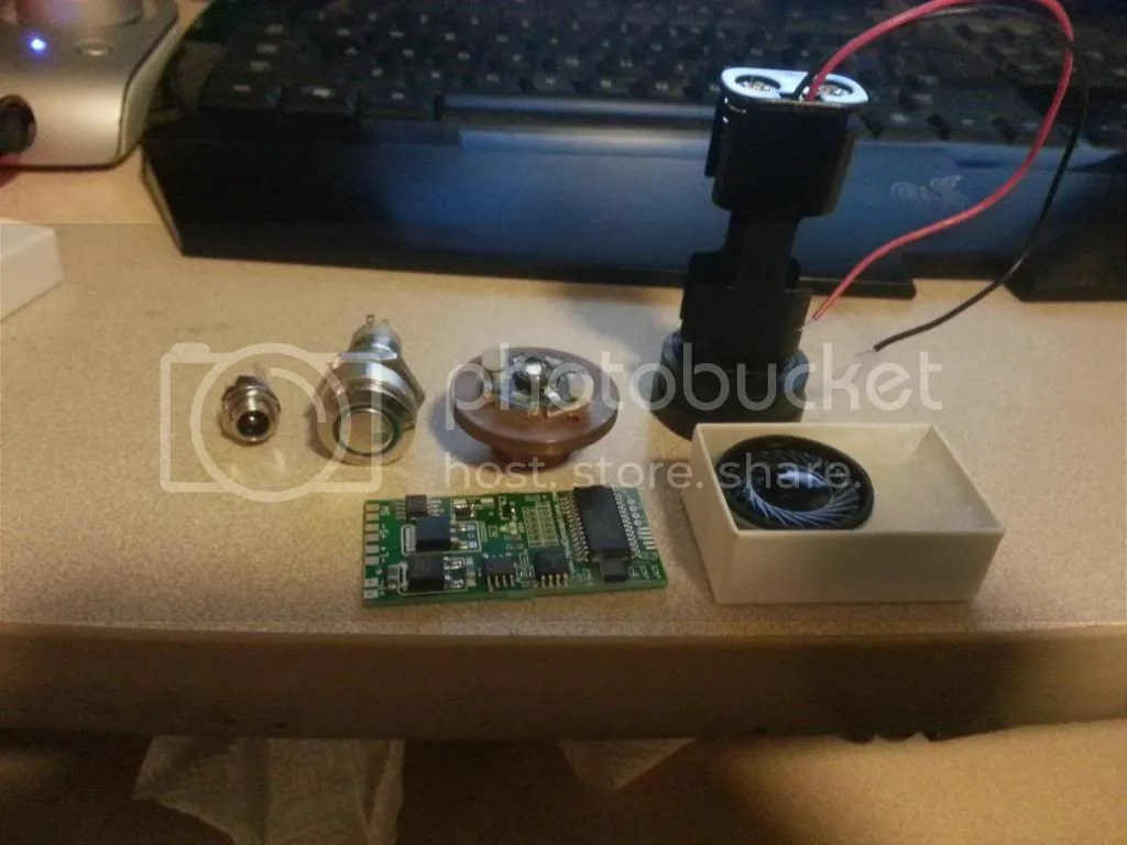 hight resolution of here i have an ultrasound v2 5 board a speaker from tcs with a basic battery pack a lux 3 blue led a blue latching anti vandal switch and a recharge