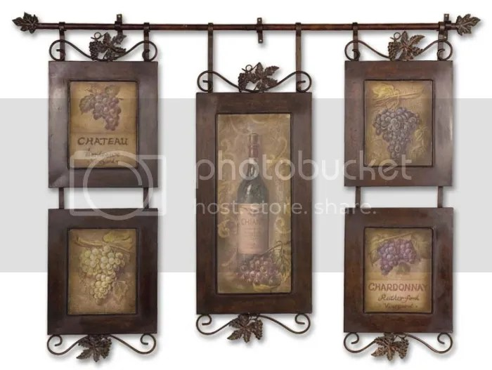 TUSCAN S/5 Vintage Wine Oversized WALL DECOR Art Metal