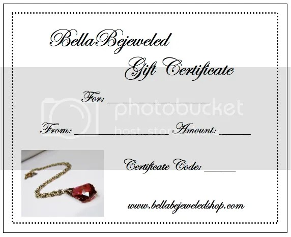 Bella Bejeweled: NEW BellaBejeweled Gift Certificates!