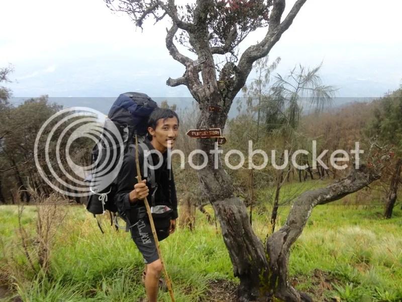 Saya di pertigaan jalur Purwosari-Lawang, setelah 5 jam berjalan dari Jawa Dwipa dengan beban penuh. Sembari memegang tongkat yang dibawa sejak bertemu warga di ladang atas Pos I Goa Ontoboego. (Dipotret oleh Dani)