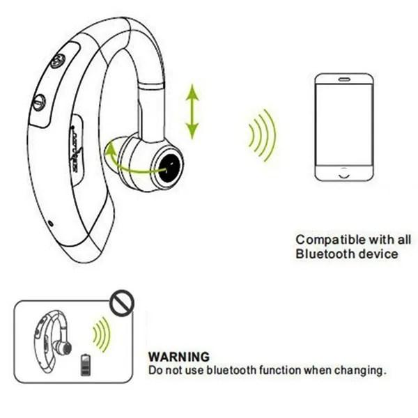 Wireless HD Bluetooth Headset Handfree Earpiece Ear Hook