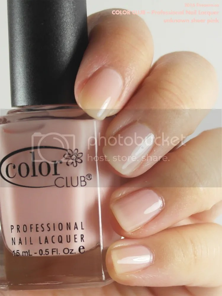 Color Club Professional Nail Lacquer in mystery sheer pink, swatch