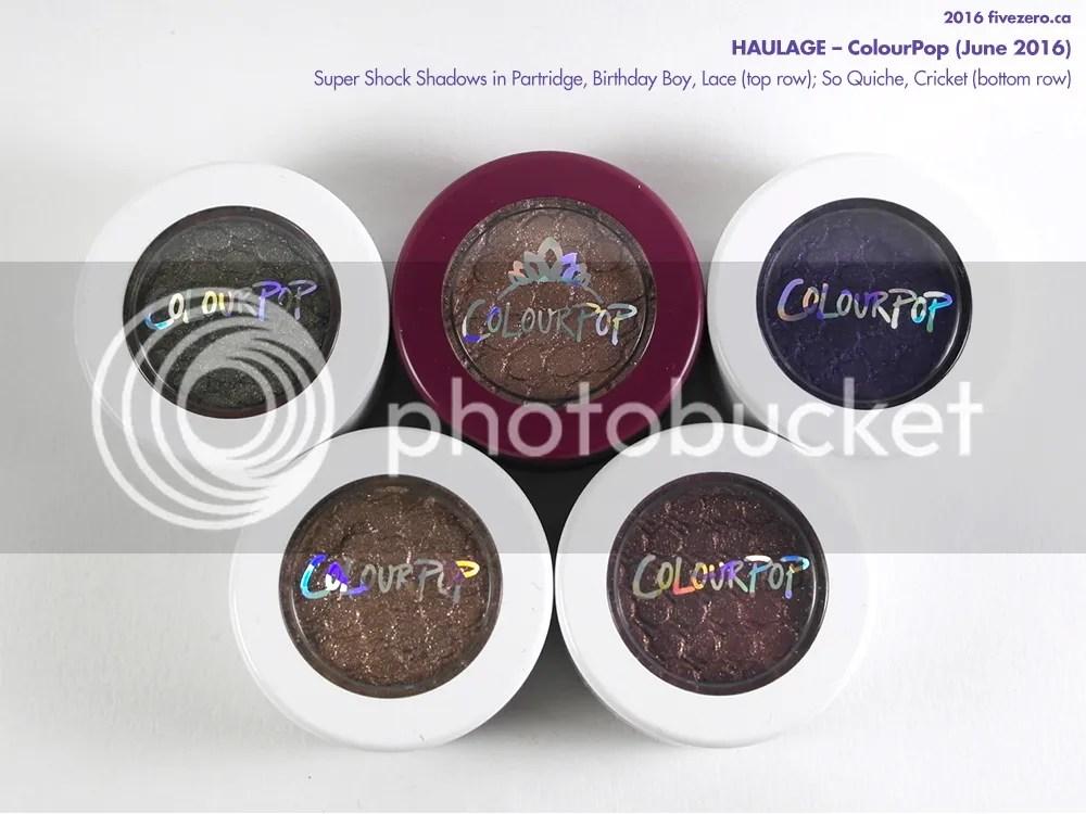 ColourPop Super Shock Shadows in Partridge, Birthday Boy, Lace, So Quiche, Cricket