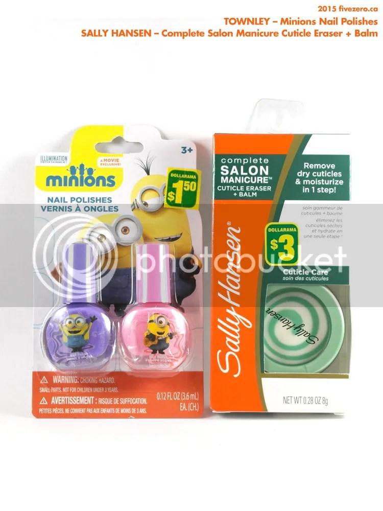 Dollarama haulage, Minions nail polish by Townley, Sally Hansen Complete Salon Manicure Cuticle Eraser + Balm