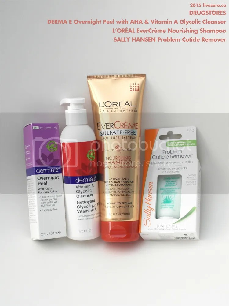 Drugstore haulage, Derma E peel and glycolic cleanser, L'Oréal EverCrème shampoo, Sally Hansen cuticle remover