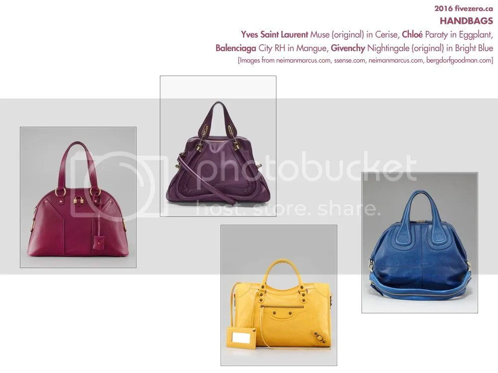Handbags, YSL Muse (original), Balenciaga City RH, Chloé Paraty, Givenchy Nightingale (original)