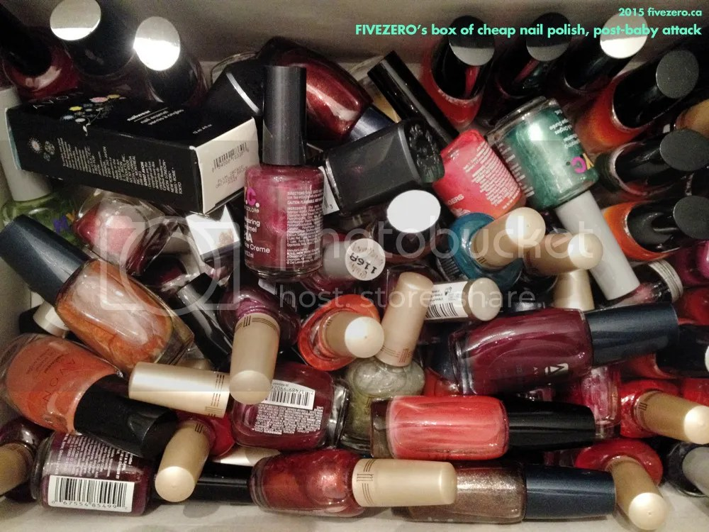 fivezero's cheap nail polishes, post-baby attack, Avon, Milani, NYC New York Color