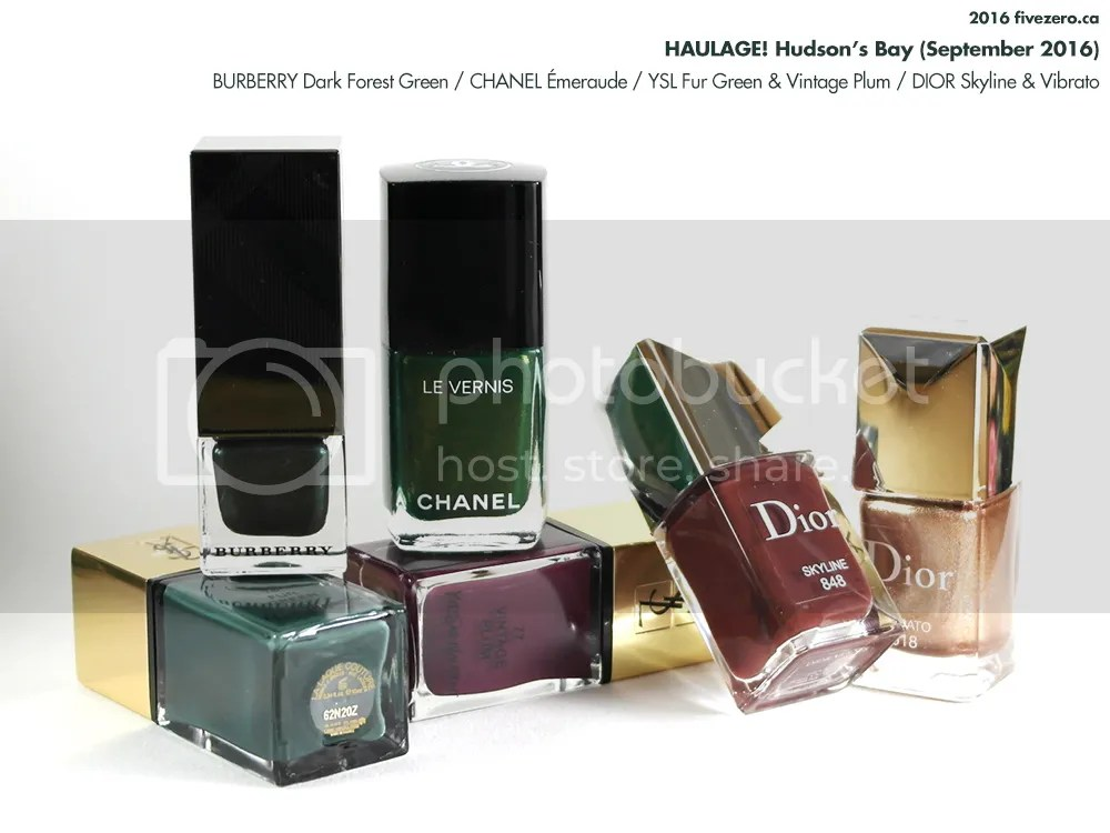 Hudson's Bay luxury nail polish haulage, September 2016, Burberry, Chanel, Dior, YSL Yves Saint Laurent