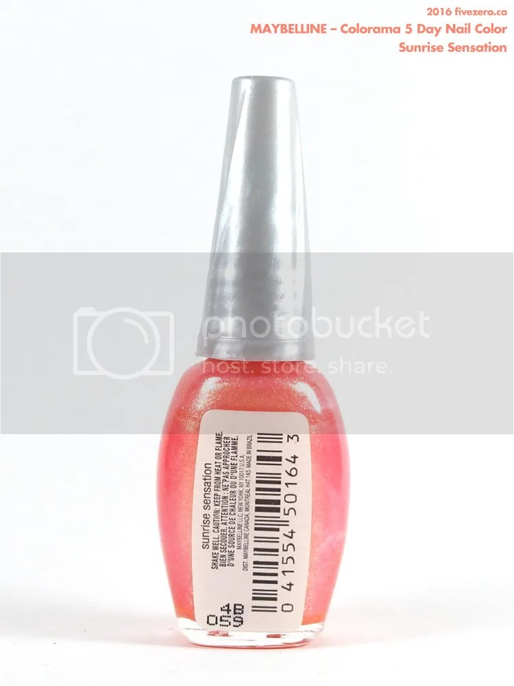 Maybelline Colorama 5 Day Nail Color in Sunrise Sensation, label