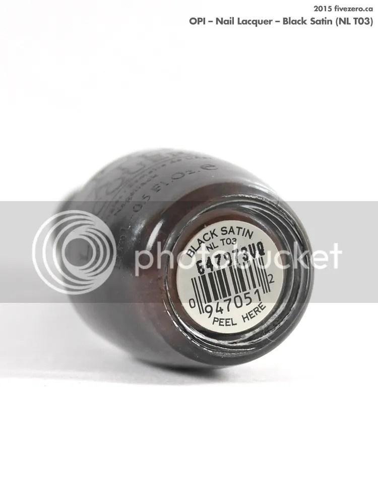 OPI Nail Lacquer in Black Satin, label