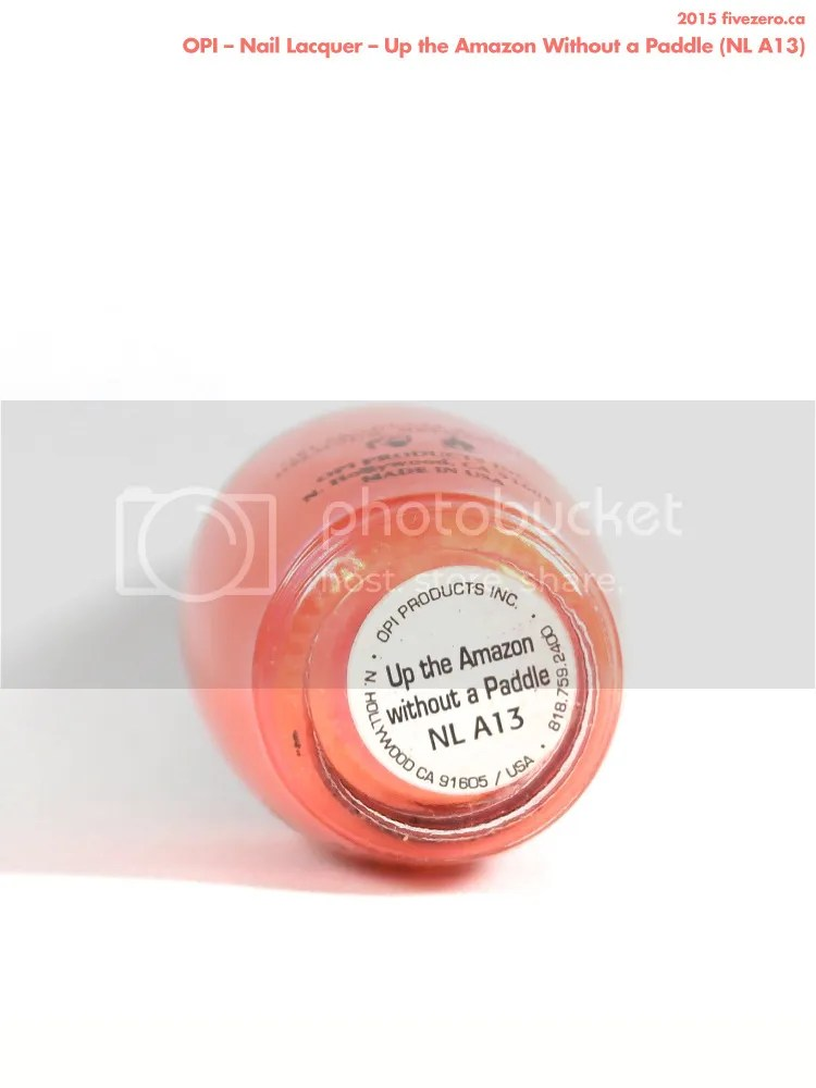 OPI Nail Lacquer in Up the Amazon Without a Paddle, label