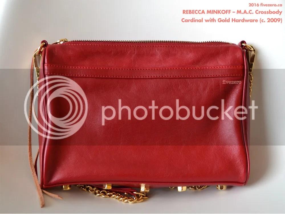Rebecca Minkoff M.A.C. Crossbody Handbag, Cardinal with gold hardware, rear, 2009