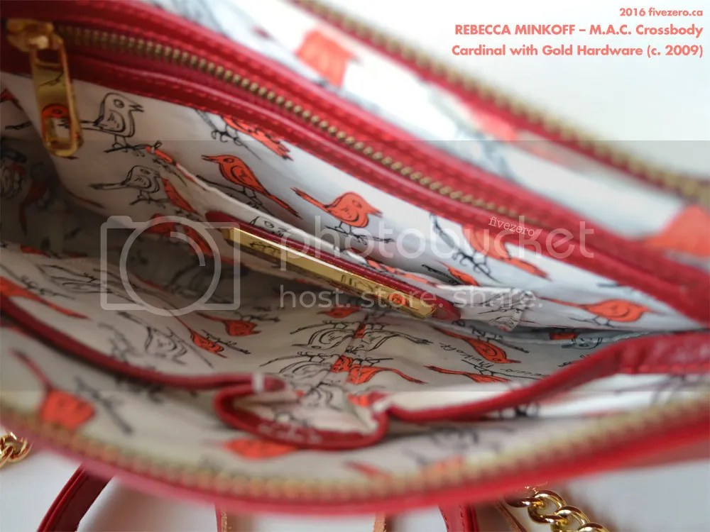 Rebecca Minkoff M.A.C. Crossbody Handbag, Cardinal with gold hardware, lining with Becky bird, 2009