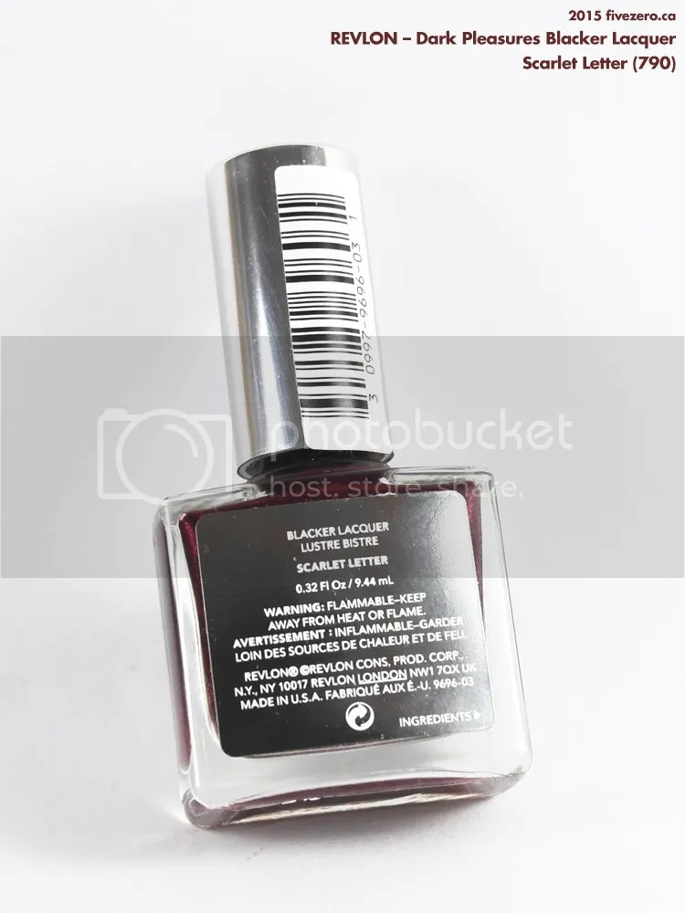 Revlon Dark Pleasures Blacker Lacquer in Scarlet Letter, label