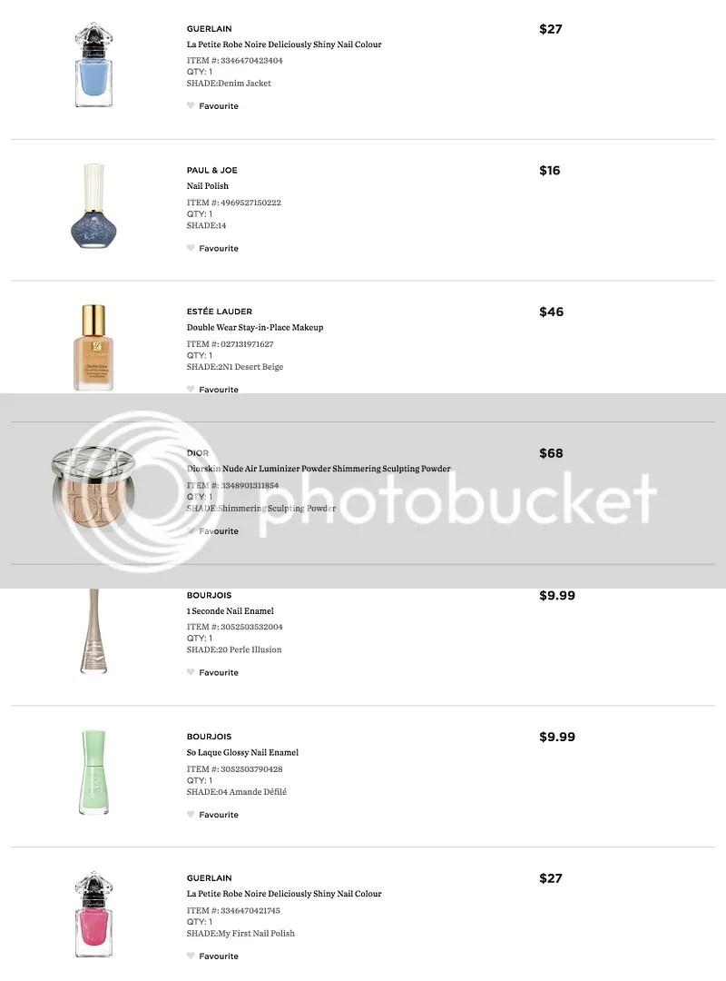beautyBOUTIQUE by Shoppers Drug Mart, fivezero's order, September 2016