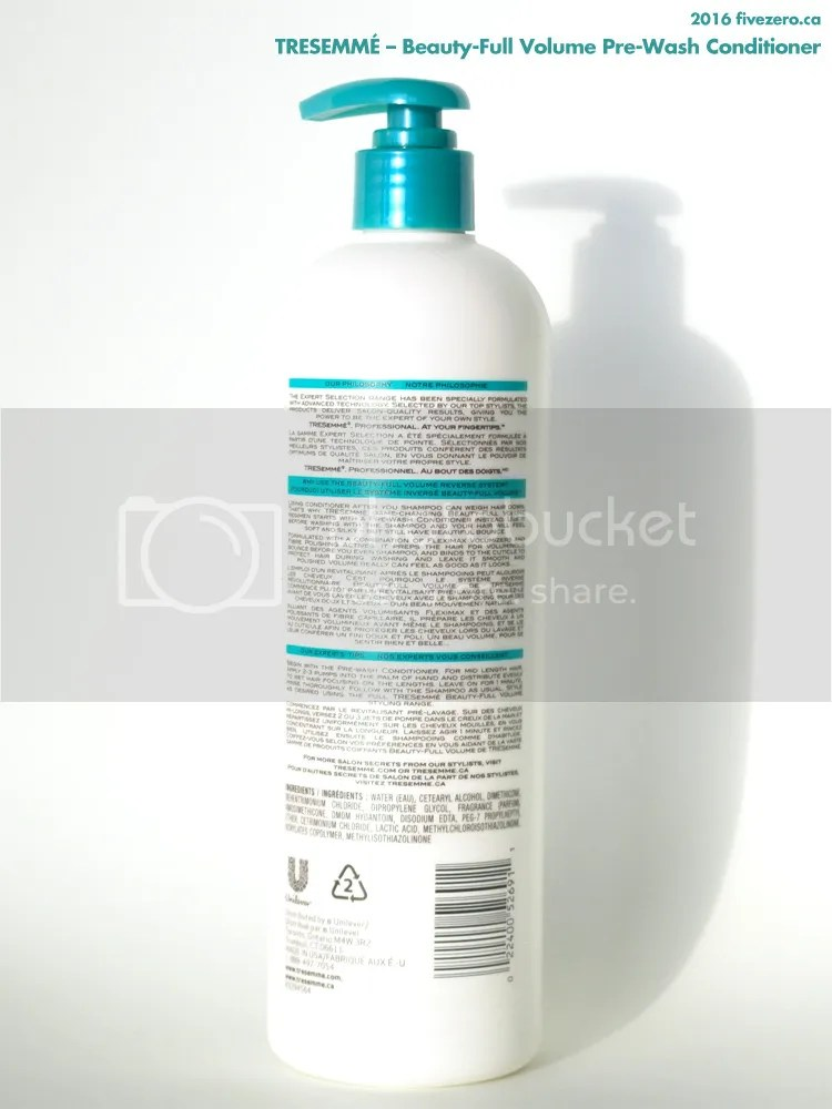 TRESemmé Beauty-Full Volume Pre-Wash Conditioner, label