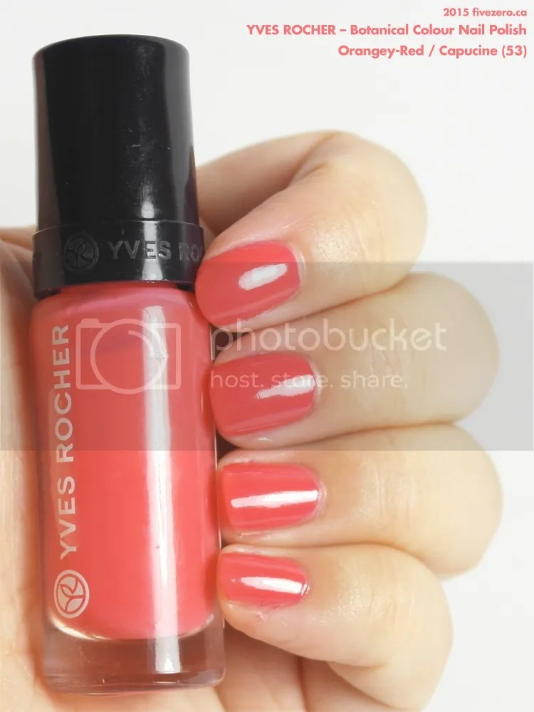Yves Rocher Botanical Colour Nail Polish in Orangey-Red / Capucine, swatch